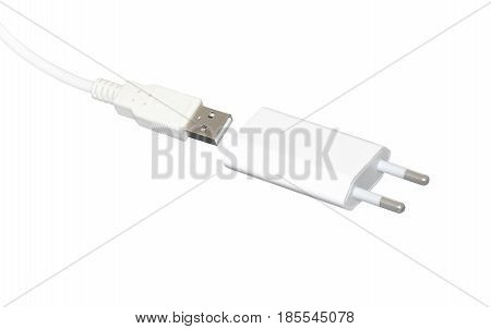Usb cord with usb connection adapter to wall electric outlet.