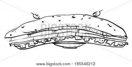 Cartoon image of huge sandwich. An artistic freehand picture.