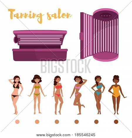 Indoor tanning. Stages of tan. Isolated art on white background. Vector. Cartoon. Flat