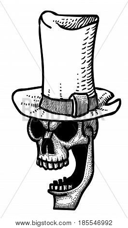 Cartoon image of laughing skull in top hat. An artistic freehand picture.