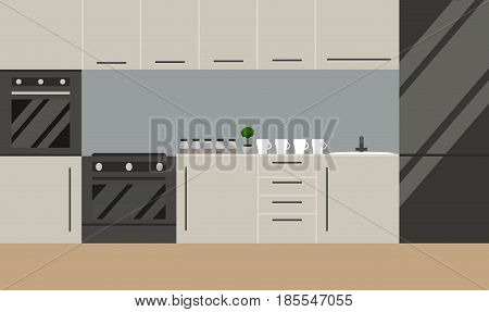 Kitchen in scandinavian style. Vector. Flat design. Illsutration of modern stylish kitchen in scandinavian style.