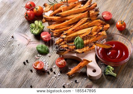 Sweet potato fries vegan vegetarian snack with ketchup batata