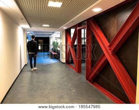 Empty modern coworking space office. Corridor in loft style