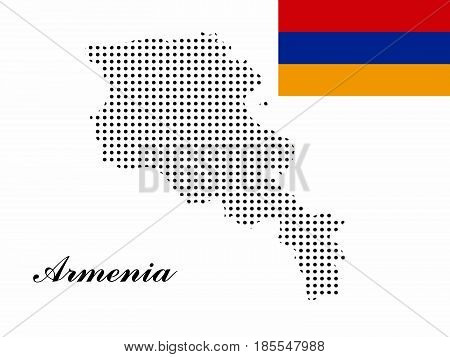 Armenia map vector with polka dots and the armenian flag