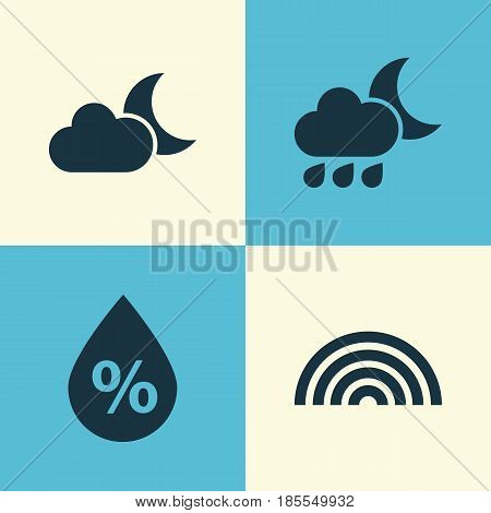 Nature Icons Set. Collection Of Nightly, Moonlight, Moisture And Other Elements. Also Includes Symbols Such As Nightly, Cold, Rainbow.