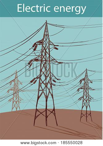 Electric power lines on a blue sky background tower on a background of the blue sky