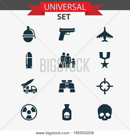Army Icons Set. Collection Of Glass, Bombshell, Fugitive And Other Elements. Also Includes Symbols Such As Poison, Gun, Bullet.