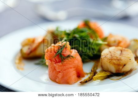 Close up of delicious fish and scallop served for lunch