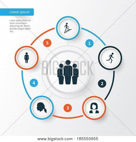 Human Icons Set. Collection Of Female, Businesswoman, Group And Other Elements. Also Includes Symbols Such As Running, Ladder, Head.