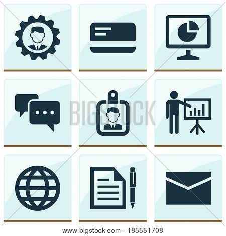 Job Icons Set. Collection Of Earth, Presenting Man, Id Badge And Other Elements. Also Includes Symbols Such As Identification, World, Presentation.