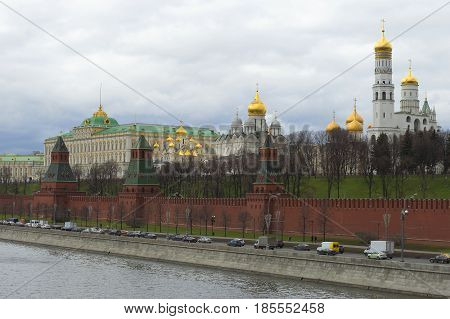 Moscow Kremlin from the Kremlin quay on a spring day, Russia