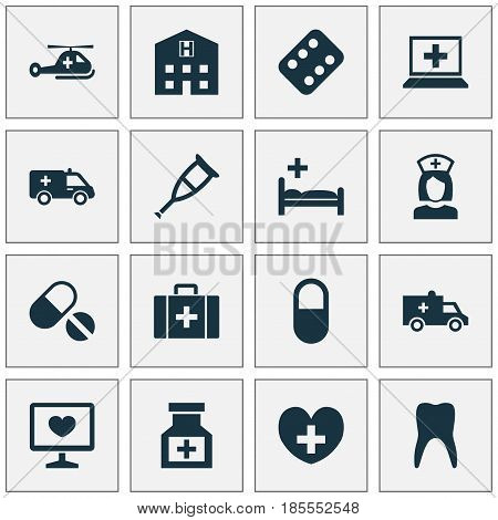 Medicine Icons Set. Collection Of Drug, Pellet, Nanny And Other Elements. Also Includes Symbols Such As Pills, Health, Heart.