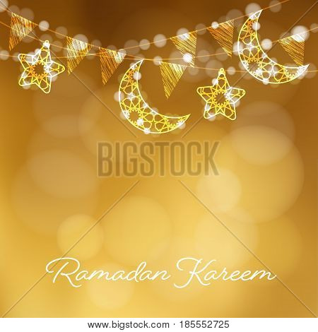 Garlands with decorative moons, stars, lights and party flags. Vector illustration card, invitation for Muslim community holy month Ramadan Kareem, golden festive blurred background.