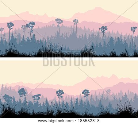 Set of horizontal wide banners coniferous forest with grass and hills in violet tones.