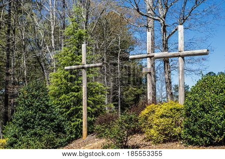 Three Crosses at a Church on Easter