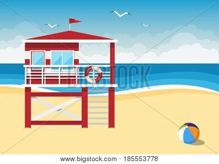 Lifeguard station on the beach on sea background. Vector illustration.