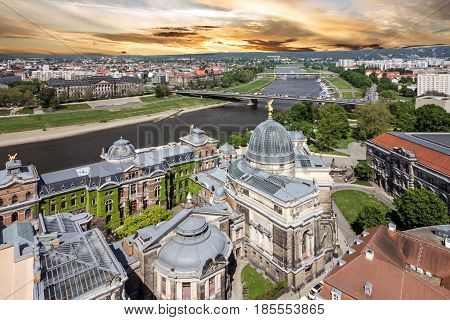 Dresden and Elbe river, Germany. Panoramic town view