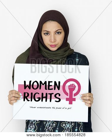 Middle eastern girl with equality women rights