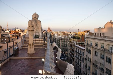 Barcelona, Spain - May 8, 2017: Casa Mila (La Pedrera) chimneys. Famous Catalan architect Anthoni Gaudi. UNESCO heritage