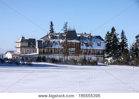 Winter landscape hotel building, resort in Slovakia
