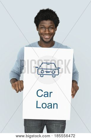 Car Loan Icon on the WHite Placard