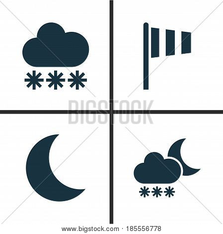 Weather Icons Set. Collection Of Snowy, Flag, Moon And Other Elements. Also Includes Symbols Such As Rain, Moonlight, Snow.