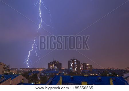 Thunder strike in the city in the night