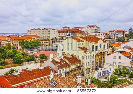 Lisbon city, town houses architectural view, Portugal