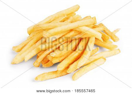 potato fry on white isolated background Long, Junk, Nutritious