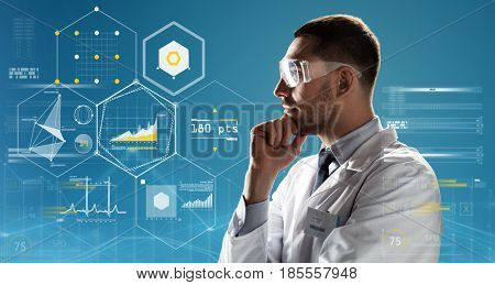 medicine, science, healthcare and people concept - male doctor or scientist in white coat and safety glasses over blue background