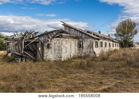 Abandoned collective farm of Mashevo ghost village in Chernobyl Exclusion Zone Ukraine