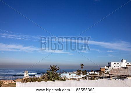 Casablanca sea side landscape town view, Morocco