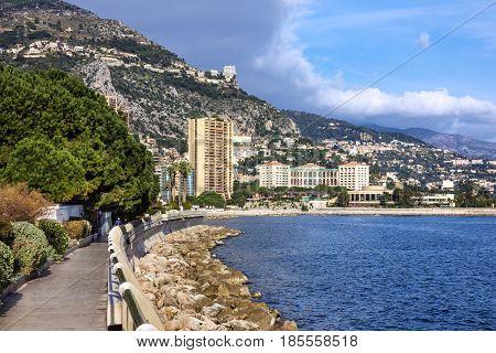Monaco and Monte Carlo principality seafront landscape.