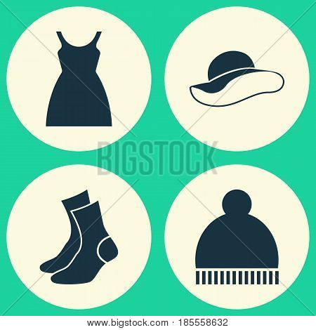 Dress Icons Set. Collection Of Half-Hose, Beanie, Elegant Headgear And Other Elements. Also Includes Symbols Such As Hat, Headgear, Socks.