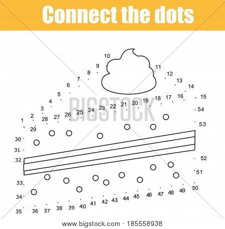 Connect the dots children educational drawing game. Dot to dot by numbers game for kids. Food theme. Printable worksheet. Drawing cake