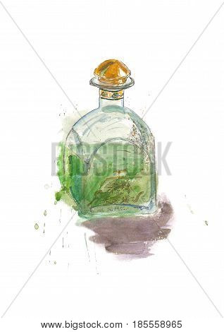 Watercolor hand drawn sketh absinthe bottle. Alcohol drink illustration poster