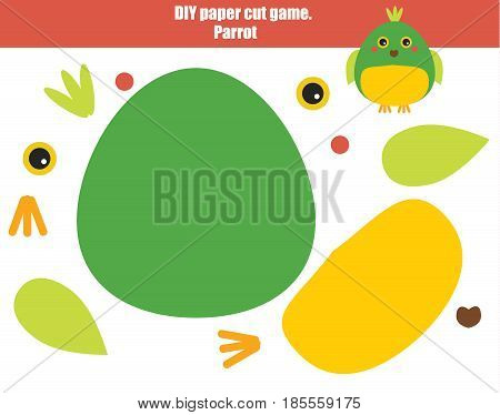 DIY children educational creative game. Make a parrot with scissors and glue. Paprecut activity. Creative printable tutorial or kids. Animals theme