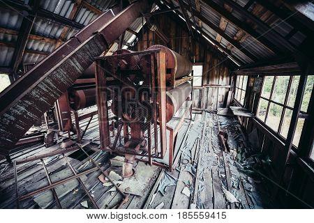 Interior of farm elevator in collective farm near Zymovyshche ghost village in Chernobyl Exclusion Zone Ukraine