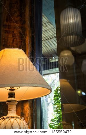 Bedside Lamp In Warm Tone Living Room stock photo