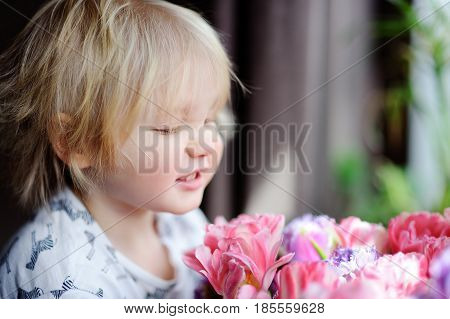 Cute blonde hair toddler smelling flowers at the home. Toddler boy looking on pink tulips