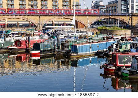 Boats And Yacht Moored At Limehouse Basin Marina
