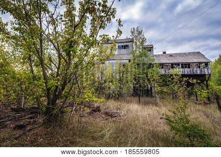 Grain elevator in collective farm near Zymovyshche ghost village in Chernobyl Exclusion Zone Ukraine