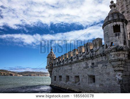 Belem fort tower architecture, Lisbon city, Portugal