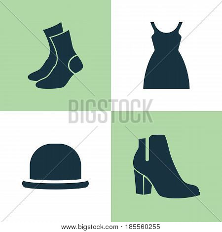 Dress Icons Set. Collection Of Dress, Half-Hose, Female Winter Shoes And Other Elements. Also Includes Symbols Such As Half-Hose, Sundress, Socks.