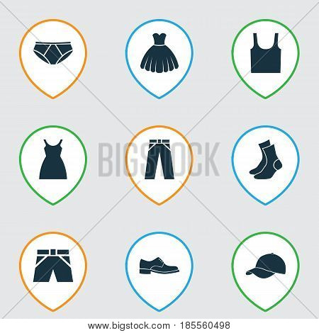 Dress Icons Set. Collection Of Trunks Cloth, Half-Hose, Singlet And Other Elements. Also Includes Symbols Such As Leggings, Trousers, Dress.