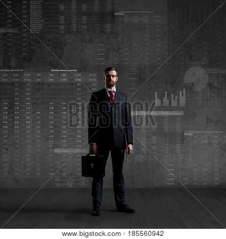 Businessman standing over diagram background. Business, office, investment concept.