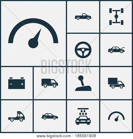 Auto Icons Set. Collection Of Wheelbase, Stick, Transport Cleaning And Other Elements. Also Includes Symbols Such As Hood, Accumulator, Gear.