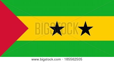 Colored Flag Of Sao Tome And Principe
