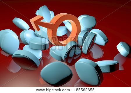 Impotence treatment concept. 3D illustration showing male symbol and impotence pills