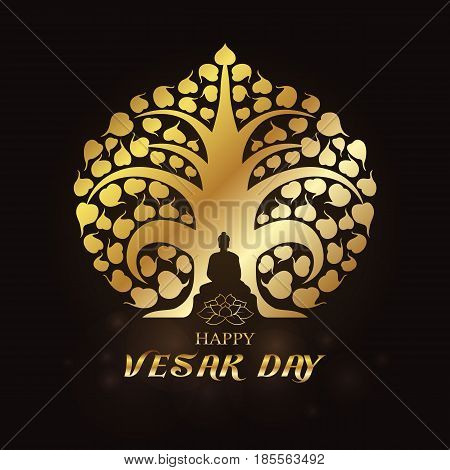 Happy Vesak day - Gold Buddha under Bodhi Tree and lotus art vector design
